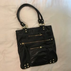 linea pelle  black leather bag