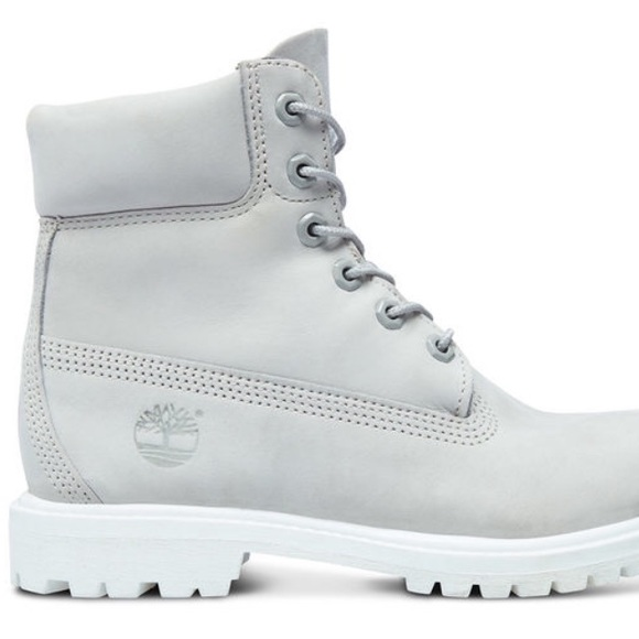 grey and white timbs