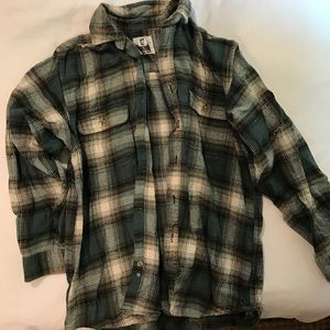 LF oversized flannel with leather details