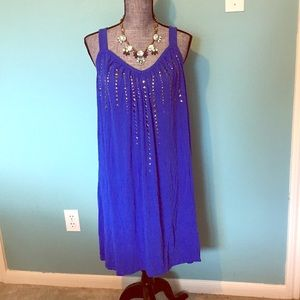 Blue Embellished Nightgown Pajamas Gunmetal Studs