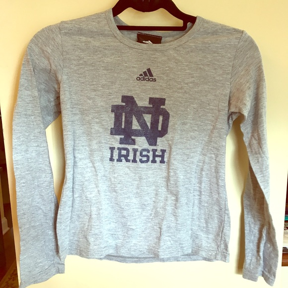 Adidas Shirts Tops Notre Dame Long Sleeve Shirt Poshmark