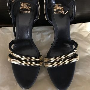 New Burberry zippered sandal heels