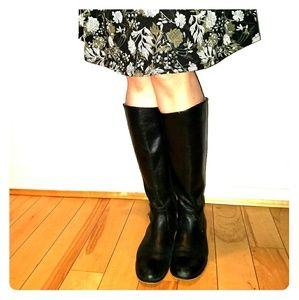 Kenneth Cole Black Leather Knee Boots