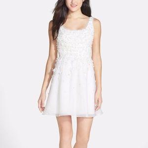 Ali Ro White Hand Pieced Silk Flower Organza Dress
