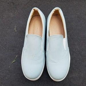Shoes - Blue platform slip-on shoes