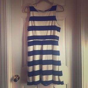 Nautical blue and white striped dress