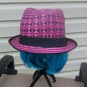 Accessories - Designer Pink & Black Fedora
