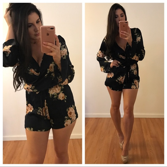 174f3a00e655 •LAST ONE• Bell Sleeve Floral Satin Romper