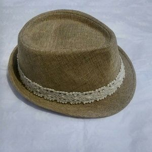 Accessories - Dark tan fedora hat with a bow on the side
