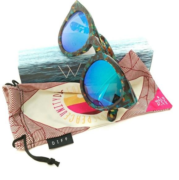 7af0bca6f1 Diff Eyewear Accessories - Diff Dime ll - Motley Frame - Blue Lens  Sunglasses