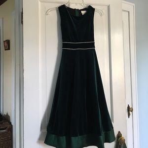 Green velvet dress. Girls size 12.