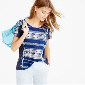 J. Crew Linen Embroidered Striped Top.