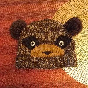 Knitted bear winter hat pom-pom brown