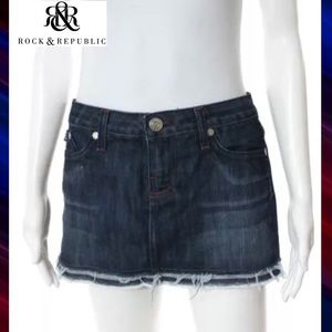ROCK & REPUBLIC Awesome Denim Distressed Hem Skirt