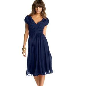 NWOT Suzi Chin empire waist chiffon - Navy blue