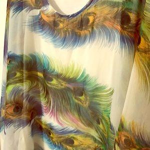 Peacock sheer shirt with tank