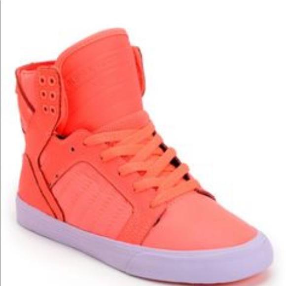b58c893560ec Supra Womens Skytop Neon Coral Leather Nylon Shoe.  M 59add91b36d5945b0100183b