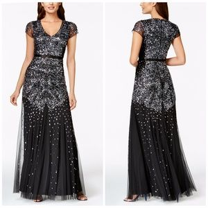 Adrianna Papell Gunmetal Gray Cap-Sleeve Bead Gown