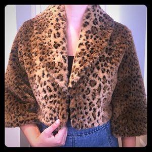 Sheri Bodell leopard faux fur cropped jacket