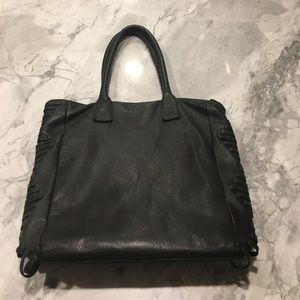 Linea Pelle Black Leather Tote