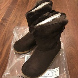 Lands End Cozy Brown Boots Size 7 Youth