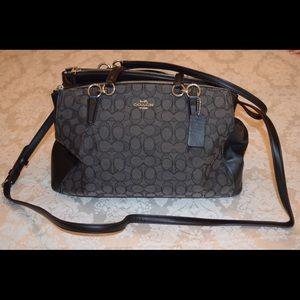 Coach handbag signature black double zip