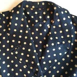 Vintage Jackets & Coats - 1950s Vintage Silk Polka Dot Cropped Jacket