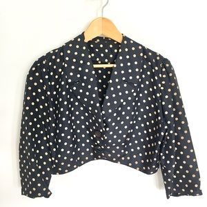 ❌ 1950s Vintage Silk Polka Dot Cropped Jacket