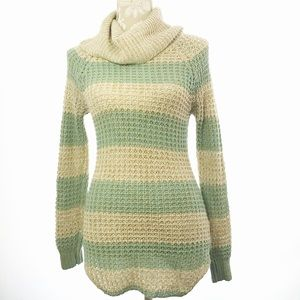 Mint and Cream Striped Cowl Neck Sweater