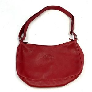Longchamp Red Leather Pebble Grain Crossbody Bag