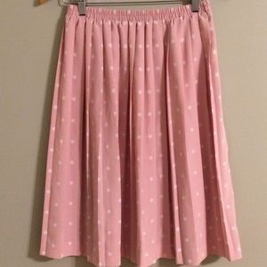 Leslie Fay Pink w/ White Polka Dot Pleated Skirt