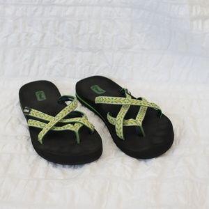198d3a837 Teva Shoes - Teva Women s Green yellow Sandal Flip Flop Size 7