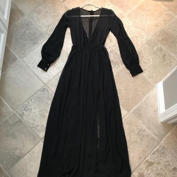 Nasty Gal Dresses Olivaceous Long Sleeve Black Sheer Dress Poshmark
