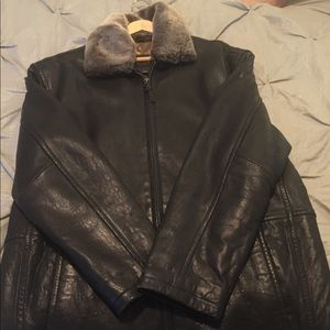 Men's black leather jacket with brown lining