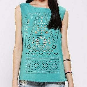 Urban Outfitters Teal Cutout Muscle Tee
