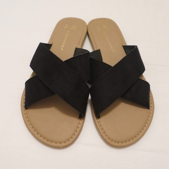 9e26f5a91f6e Atmosphere Shoes - Primark Black Faux Suede Criss Cross Slides