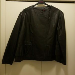Simply Be Faux Leather Peplum Jacket Size 28