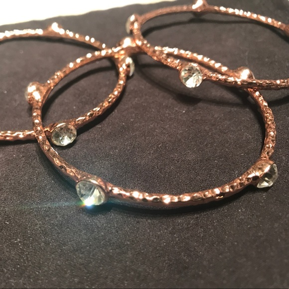 henri bendel Jewelry - Rose gold and crystal bangles set of 3