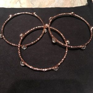 Rose gold and crystal bangles set of 3