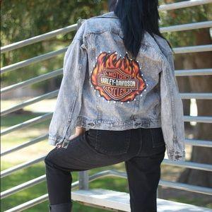 Vintage denim jacket with Harley Davidson patch