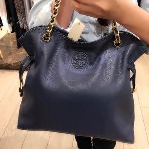 2d0a2523bf7 Tory Burch Bags - NWT Tory Burch Navy Blue Leather Tote Handbag