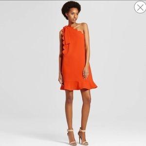 NWOT Victoria Beckham Orange One Shoulder Dress L