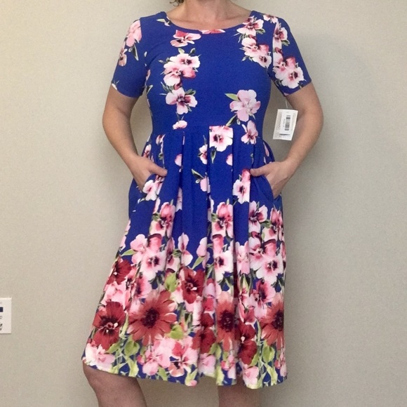 Lularoe dresses s amelia blue dipped with pink flowers poshmark lularoe s amelia blue dipped with pink flowers mightylinksfo
