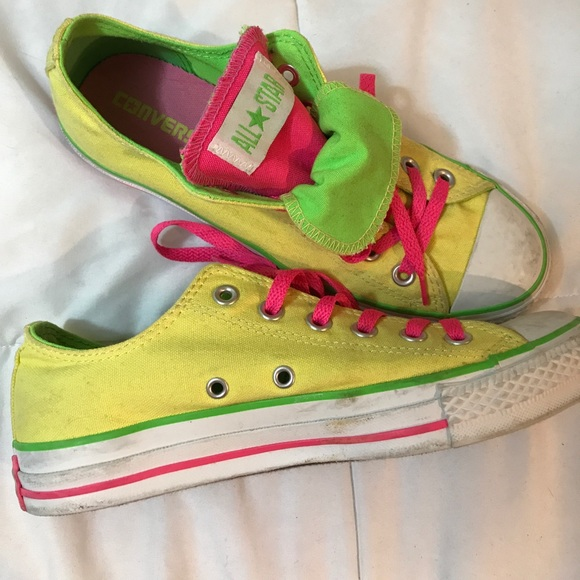 d4798b1c54a Converse Shoes - Neon yellow pink green converse low top all stars