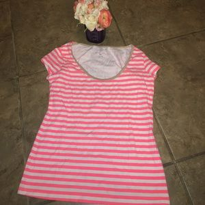 Pink and white striped New York & Co. top size M