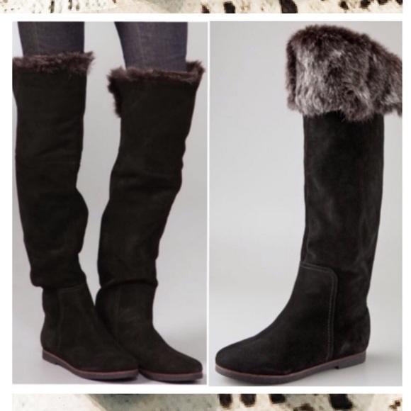 8a8d60780 Sam Edelman Orlando Over Knee Suede Faux Fur Boots.  M 59b71863eaf030ab430aaf90