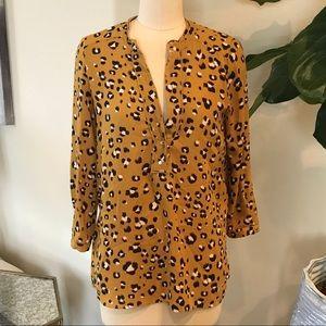 Zara Basic Leopard Print Blouse S