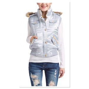 Silver Faux Fur Trim Hooded Vest
