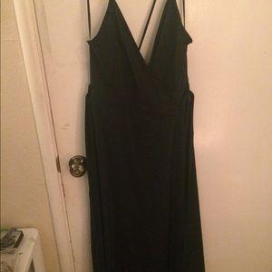Dark green prom dress.