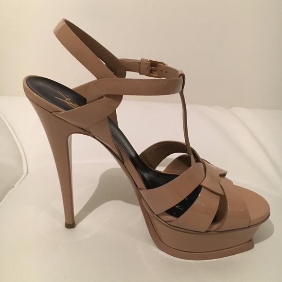 585deb511f Saint Laurent Shoes | Ysl Tribute Patent Leather Sandal Dark Nude ...